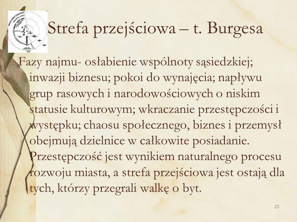 25 Strefa przejściowa – t. Burgesa Fazy najmu- osłabienie wspólnoty sąsiedzkiej; inwazji biznesu; pokoi do wynajęcia; napływu grup rasowych i narodowo