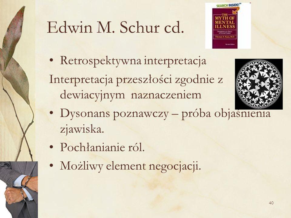 40 Edwin M. Schur cd. Retrospektywna interpretacja Interpretacja przeszłości zgodnie z dewiacyjnym naznaczeniem Dysonans poznawczy – próba objaśnienia