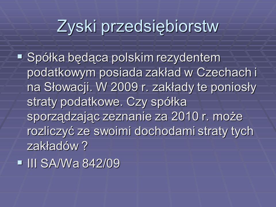 Zyski przedsiębiorstw Spółka będąca polskim rezydentem podatkowym posiada zakład w Czechach i na Słowacji.