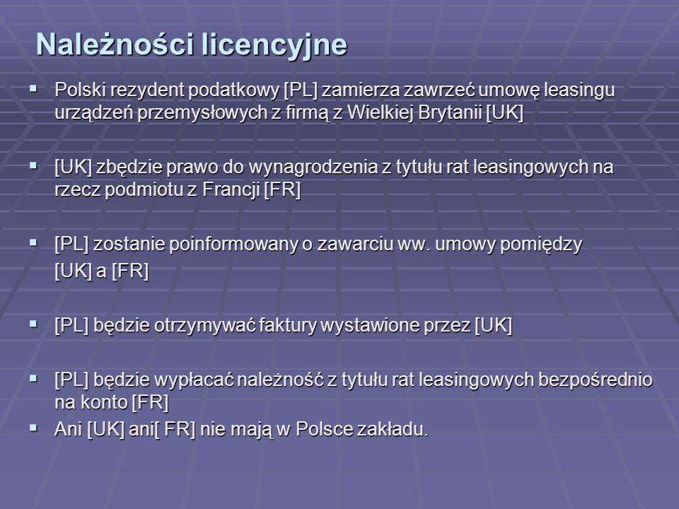 Należności licencyjne Polski rezydent podatkowy [PL] zamierza zawrzeć umowę leasingu urządzeń przemysłowych z firmą z Wielkiej Brytanii [UK] Polski rezydent podatkowy [PL] zamierza zawrzeć umowę leasingu urządzeń przemysłowych z firmą z Wielkiej Brytanii [UK] [UK] zbędzie prawo do wynagrodzenia z tytułu rat leasingowych na rzecz podmiotu z Francji [FR] [UK] zbędzie prawo do wynagrodzenia z tytułu rat leasingowych na rzecz podmiotu z Francji [FR] [PL] zostanie poinformowany o zawarciu ww.