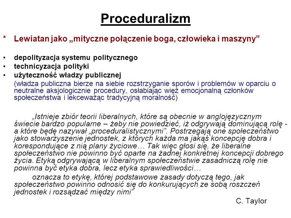 Proceduralizm *Lewiatan jako mityczne połączenie boga, człowieka i maszyny depolityzacja systemu politycznego technicyzacja polityki użyteczność władz