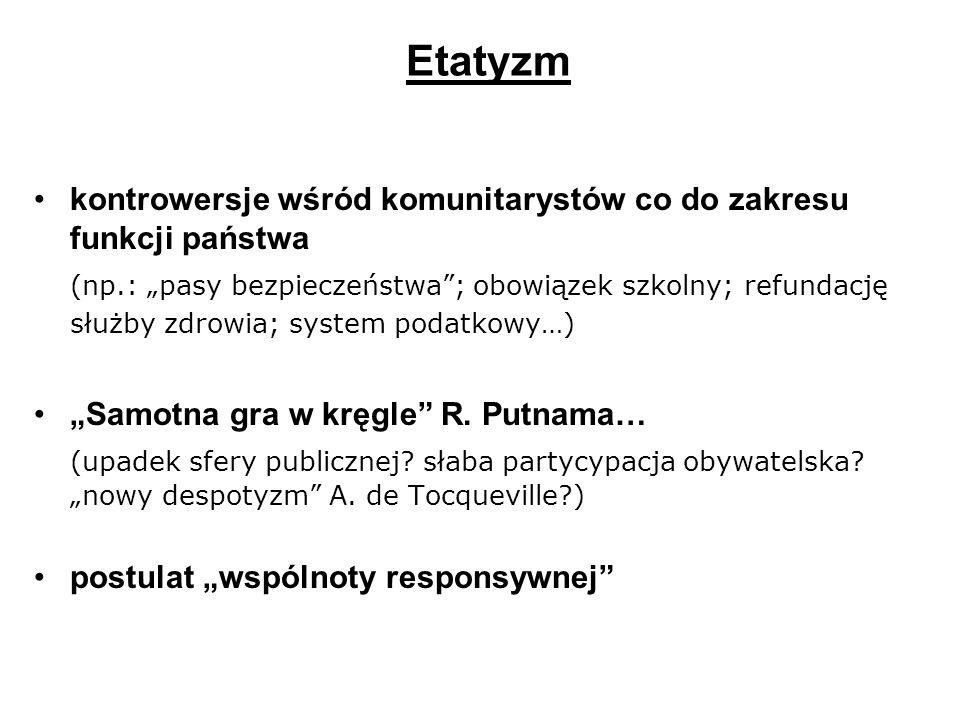 Etatyzm kontrowersje wśród komunitarystów co do zakresu funkcji państwa (np.: pasy bezpieczeństwa; obowiązek szkolny; refundację służby zdrowia; syste