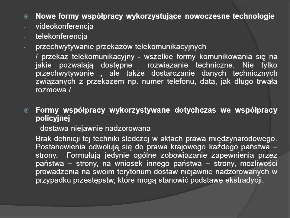Nowe formy współpracy wykorzystujące nowoczesne technologie - videokonferencja - telekonferencja - przechwytywanie przekazów telekomunikacyjnych / prz