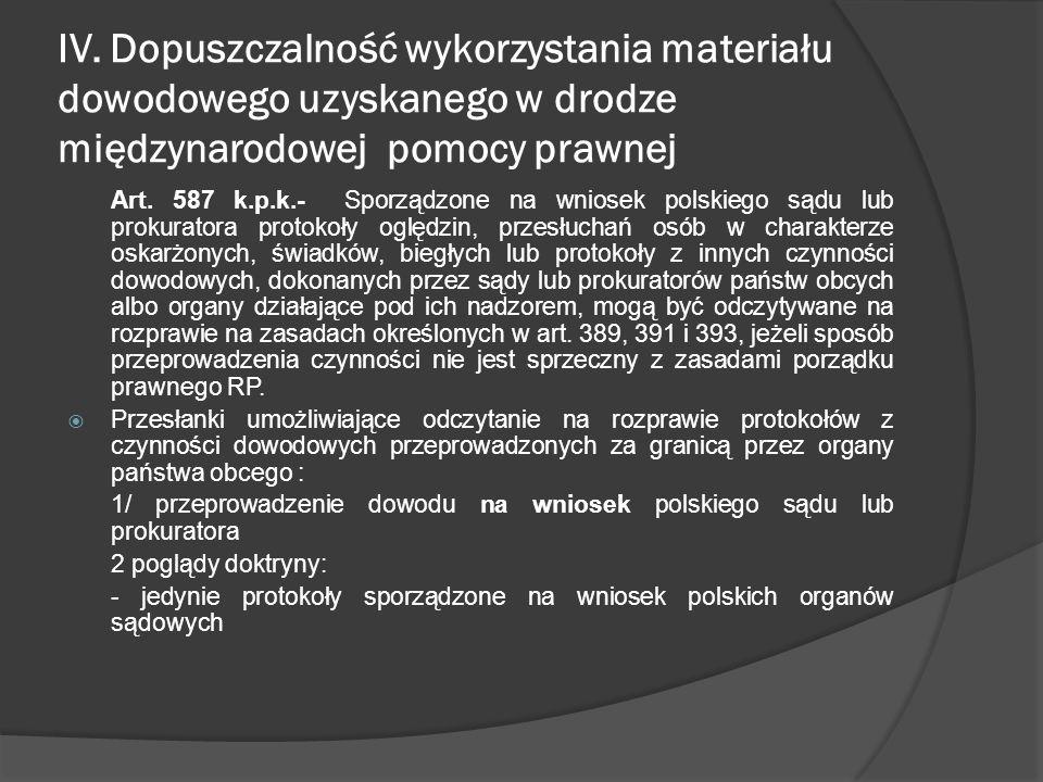 IV. Dopuszczalność wykorzystania materiału dowodowego uzyskanego w drodze międzynarodowej pomocy prawnej Art. 587 k.p.k.- Sporządzone na wniosek polsk