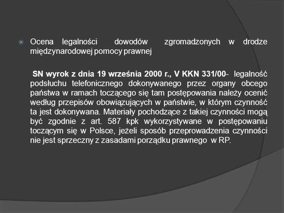 Ocena legalności dowodów zgromadzonych w drodze międzynarodowej pomocy prawnej SN wyrok z dnia 19 września 2000 r., V KKN 331/00- legalność podsłuchu