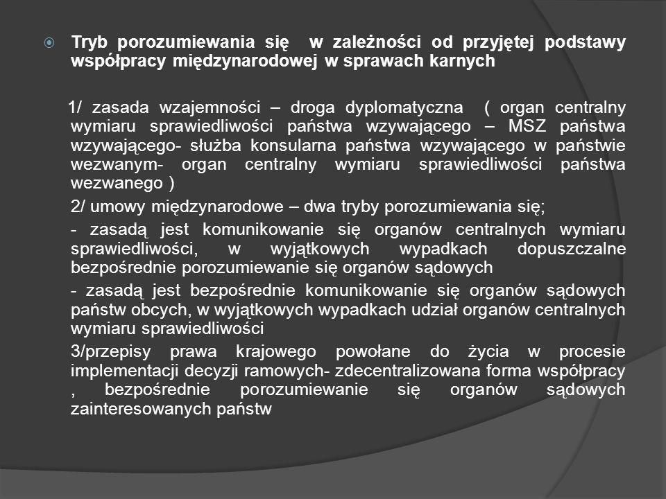 Tryb porozumiewania się w zależności od przyjętej podstawy współpracy międzynarodowej w sprawach karnych 1/ zasada wzajemności – droga dyplomatyczna (