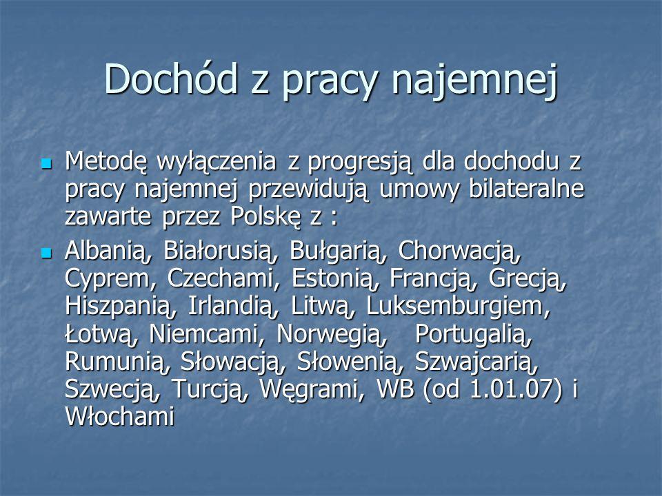 Dochód z pracy najemnej Metodę wyłączenia z progresją dla dochodu z pracy najemnej przewidują umowy bilateralne zawarte przez Polskę z : Metodę wyłącz