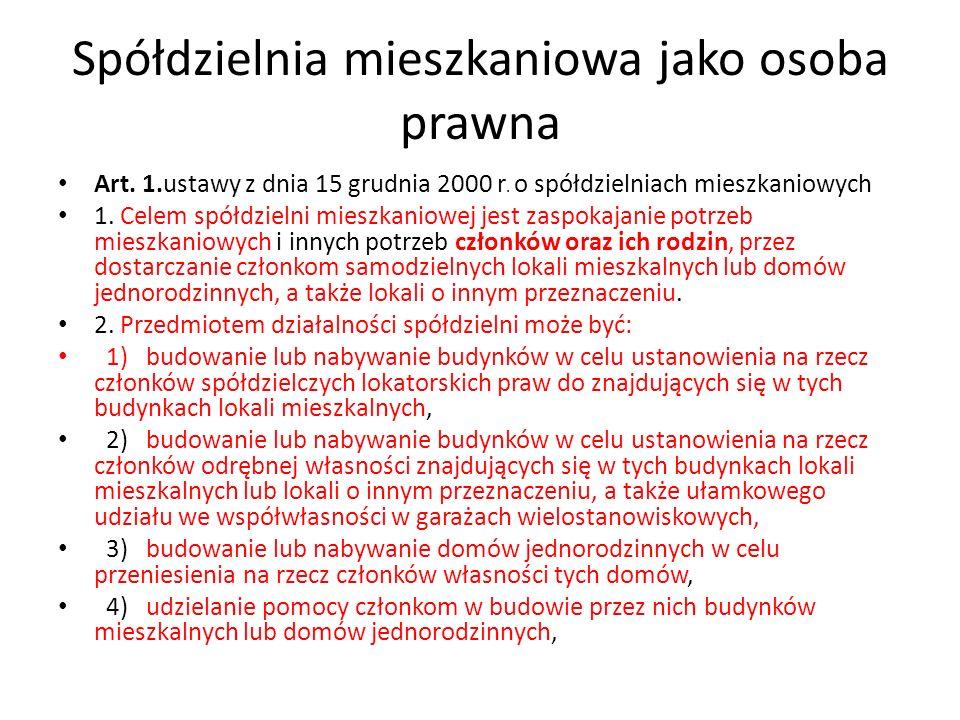 Prawa w spółdzielni mieszkaniowej Art.24.