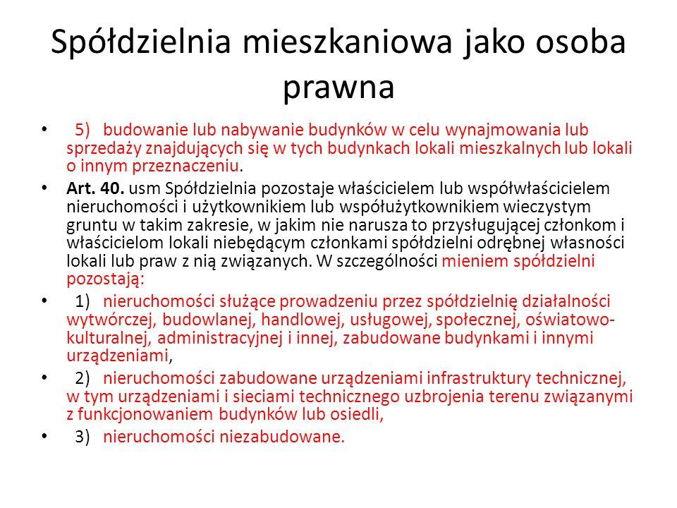 Spółdzielnia mieszkaniowa jako osoba prawna Art.19.