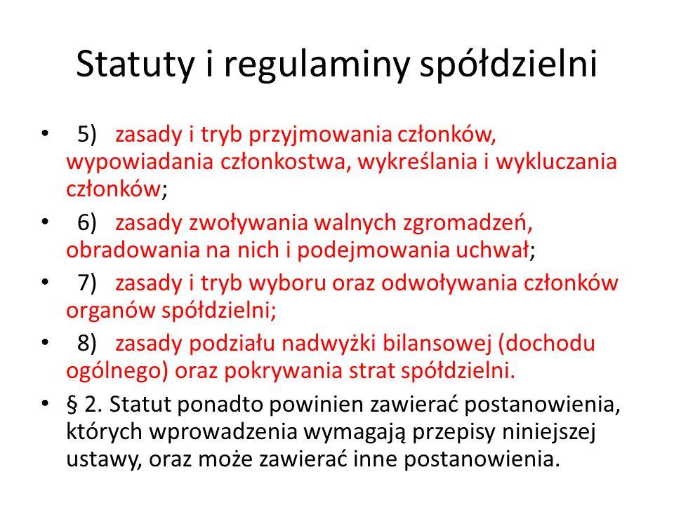 Statuty i regulaminy spółdzielni 5) zasady i tryb przyjmowania członków, wypowiadania członkostwa, wykreślania i wykluczania członków; 6) zasady zwoły