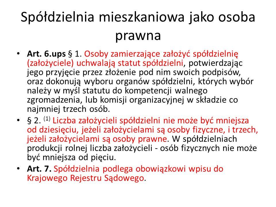 Spółdzielnia mieszkaniowa jako osoba prawna Art.30.