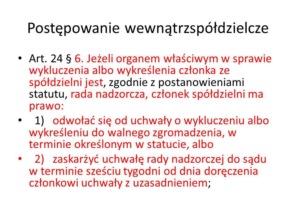 Postępowanie wewnątrzspółdzielcze Art. 24 § 6. Jeżeli organem właściwym w sprawie wykluczenia albo wykreślenia członka ze spółdzielni jest, zgodnie z