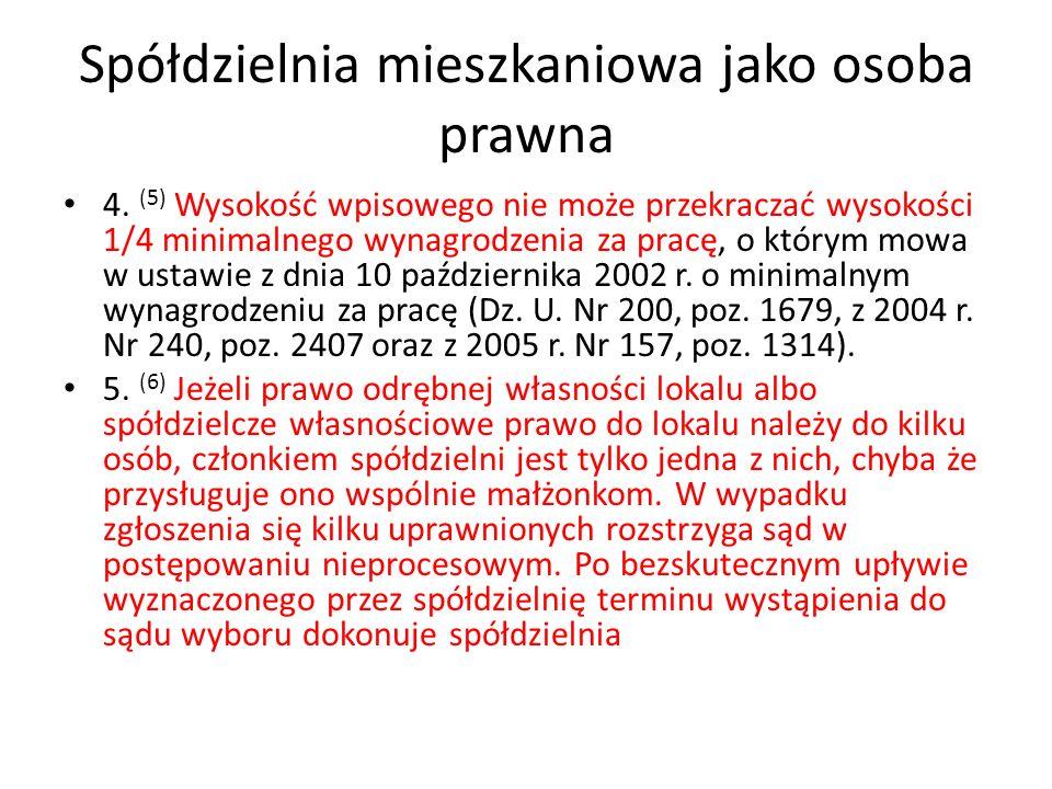 Spółdzielnia mieszkaniowa jako osoba prawna Art.16.