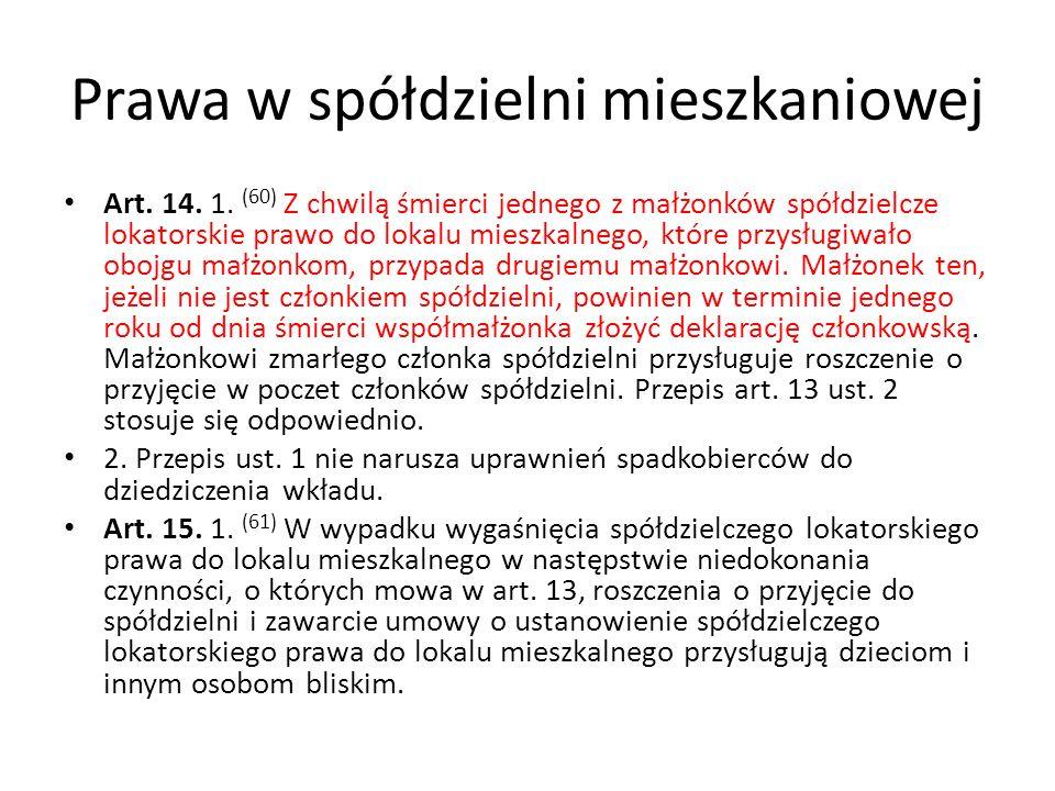 Prawa w spółdzielni mieszkaniowej Art. 14. 1. (60) Z chwilą śmierci jednego z małżonków spółdzielcze lokatorskie prawo do lokalu mieszkalnego, które p