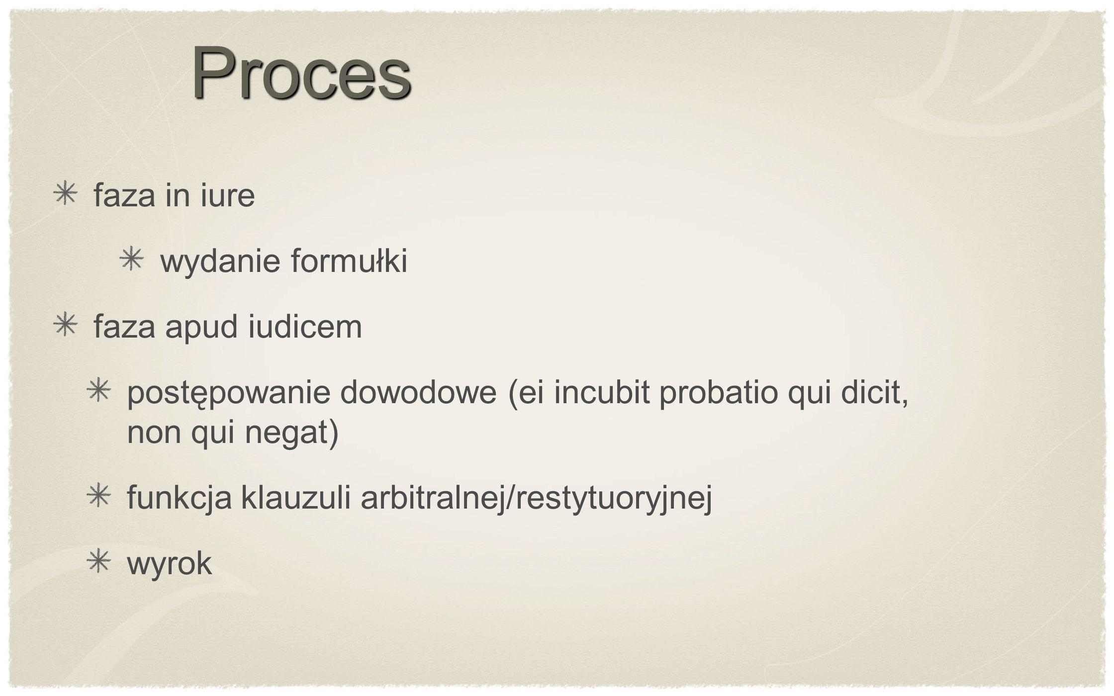 Proces faza in iure wydanie formułki faza apud iudicem postępowanie dowodowe (ei incubit probatio qui dicit, non qui negat) funkcja klauzuli arbitraln
