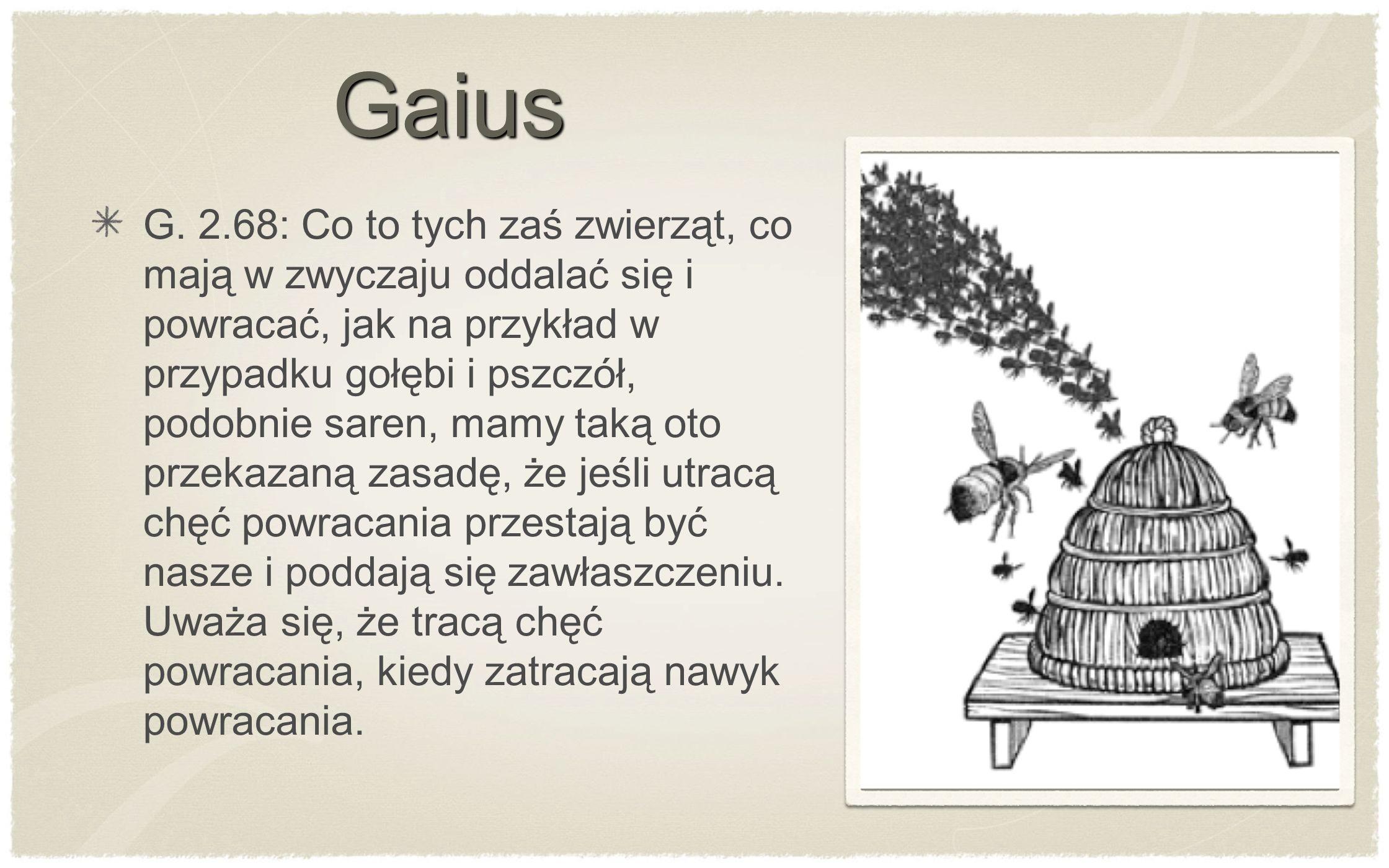 G. 2.68: Co to tych zaś zwierząt, co mają w zwyczaju oddalać się i powracać, jak na przykład w przypadku gołębi i pszczół, podobnie saren, mamy taką o