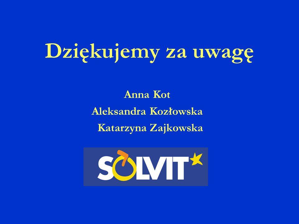 Dziękujemy za uwagę Anna Kot Aleksandra Kozłowska Katarzyna Zajkowska