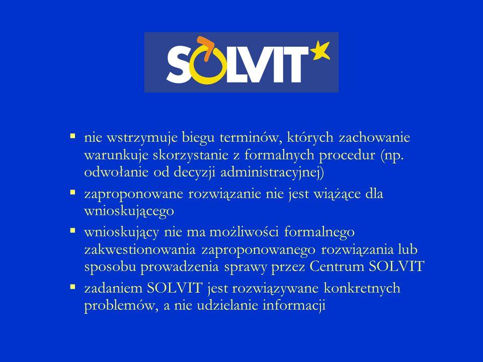 …wynikających z niewłaściwego stosowania prawa wspólnotowego… SOLVIT zajmuje się głównie sprawami, gdzie prawo wspólnotowe jest właściwie transponowane, ale niewłaściwie stosowane przez jednostki administracji Sprawy SOLVIT +