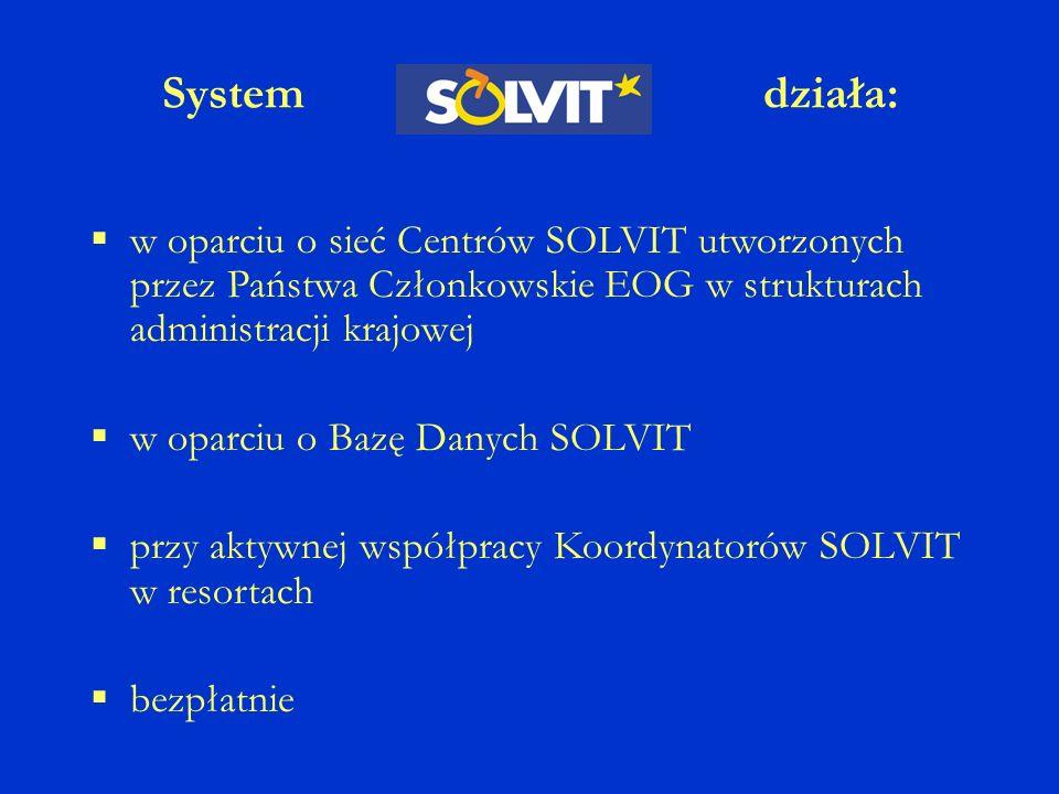 System działa: w oparciu o sieć Centrów SOLVIT utworzonych przez Państwa Członkowskie EOG w strukturach administracji krajowej w oparciu o Bazę Danych SOLVIT przy aktywnej współpracy Koordynatorów SOLVIT w resortach bezpłatnie