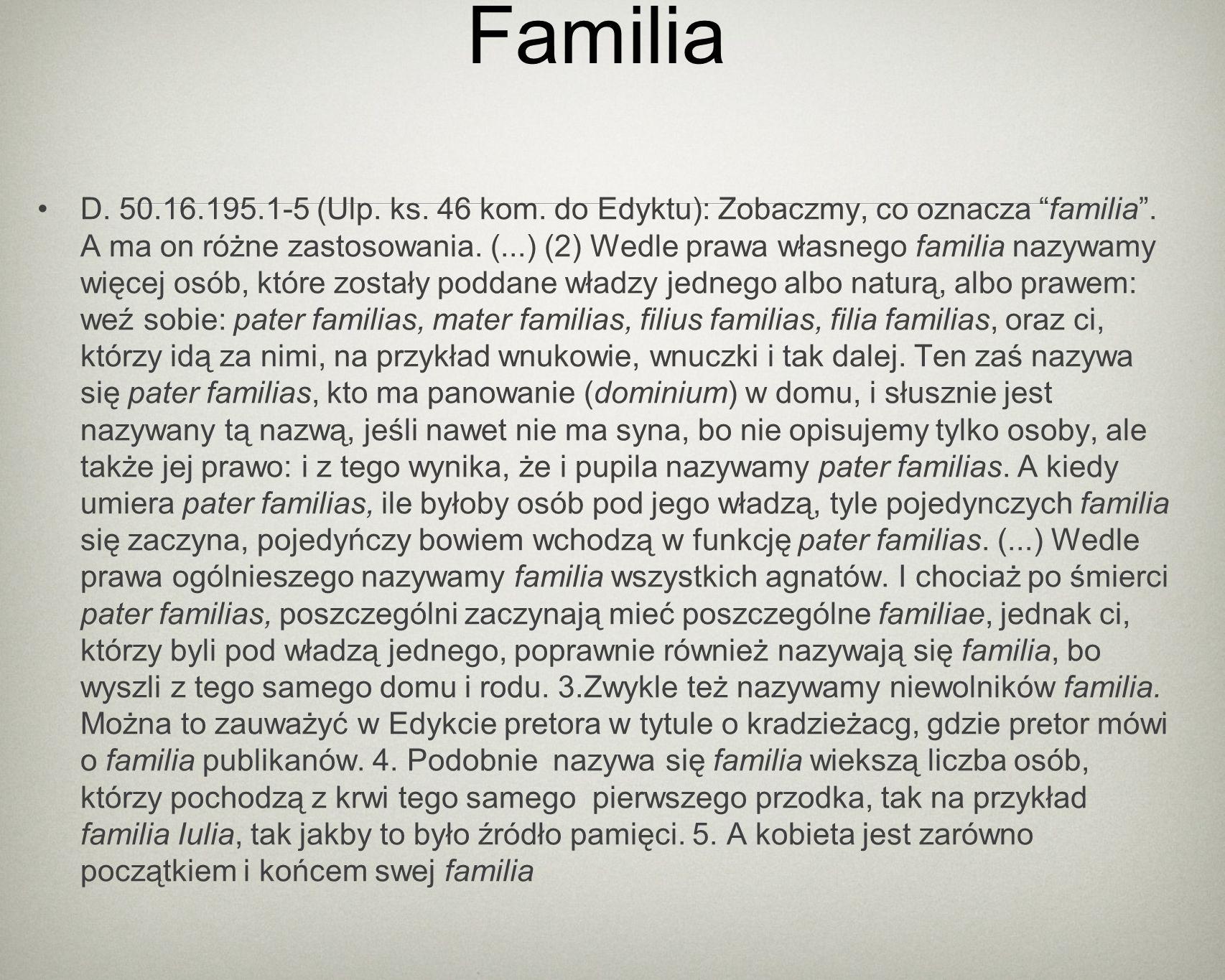 Familia D. 50.16.195.1-5 (Ulp. ks. 46 kom. do Edyktu): Zobaczmy, co oznacza familia.