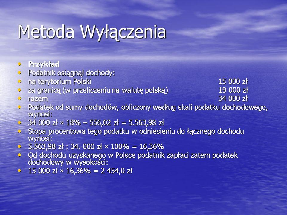 Metoda Wyłączenia Przykład Przykład Podatnik osiągnął dochody: Podatnik osiągnął dochody: na terytorium Polski15 000 zł na terytorium Polski15 000 zł