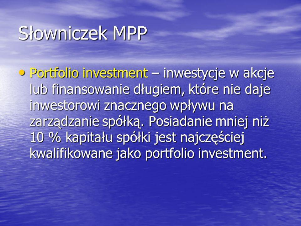 Słowniczek MPP Portfolio investment – inwestycje w akcje lub finansowanie długiem, które nie daje inwestorowi znacznego wpływu na zarządzanie spółką.