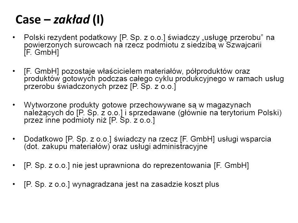 Case – zakład (I) Polski rezydent podatkowy [P. Sp.