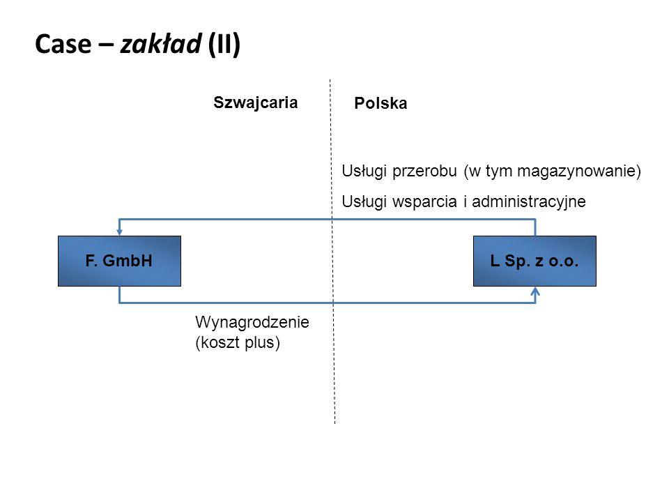 Case – zakład (II) Szwajcaria Polska F. GmbHL Sp.