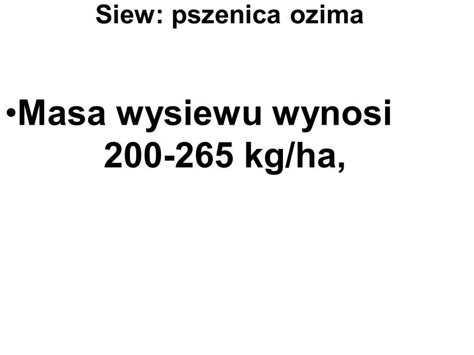 Siew: pszenica ozima Masa wysiewu wynosi 200-265 kg/ha,