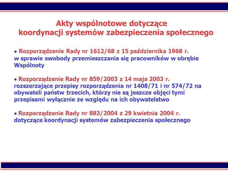 12 Akty wspólnotowe dotyczące koordynacji systemów zabezpieczenia społecznego Rozporządzenie Rady nr 1612/68 z 15 października 1968 r. w sprawie swobo