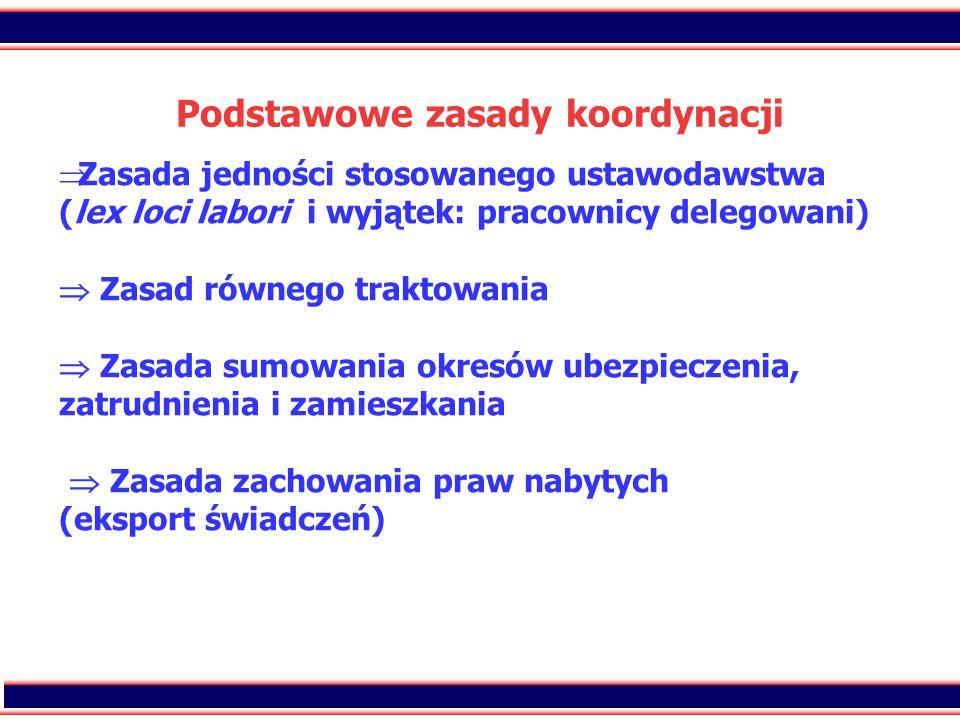 15 Podstawowe zasady koordynacji Zasada jedności stosowanego ustawodawstwa (lex loci labori i wyjątek: pracownicy delegowani) Zasad równego traktowani