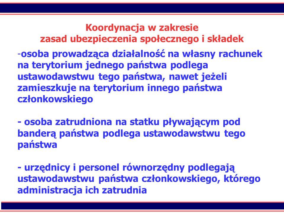 23 Koordynacja w zakresie zasad ubezpieczenia społecznego i składek - -osoba prowadząca działalność na własny rachunek na terytorium jednego państwa p