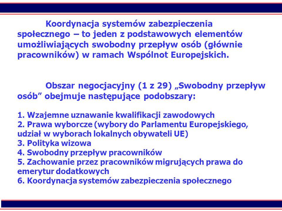 9 Koordynacja systemów zabezpieczenia społecznego – to jeden z podstawowych elementów umożliwiających swobodny przepływ osób (głównie pracowników) w r