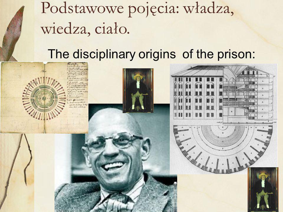 36 Podstawowe pojęcia: władza, wiedza, ciało. The disciplinary origins of the prison: