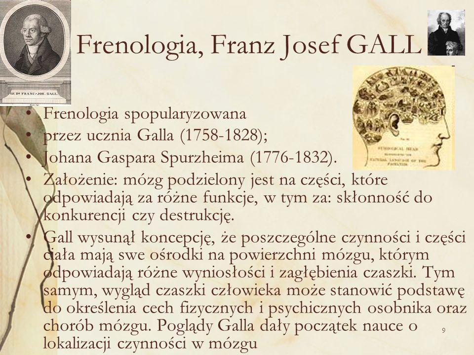 9 Frenologia, Franz Josef GALL Frenologia spopularyzowana przez ucznia Galla (1758-1828); Johana Gaspara Spurzheima (1776-1832).