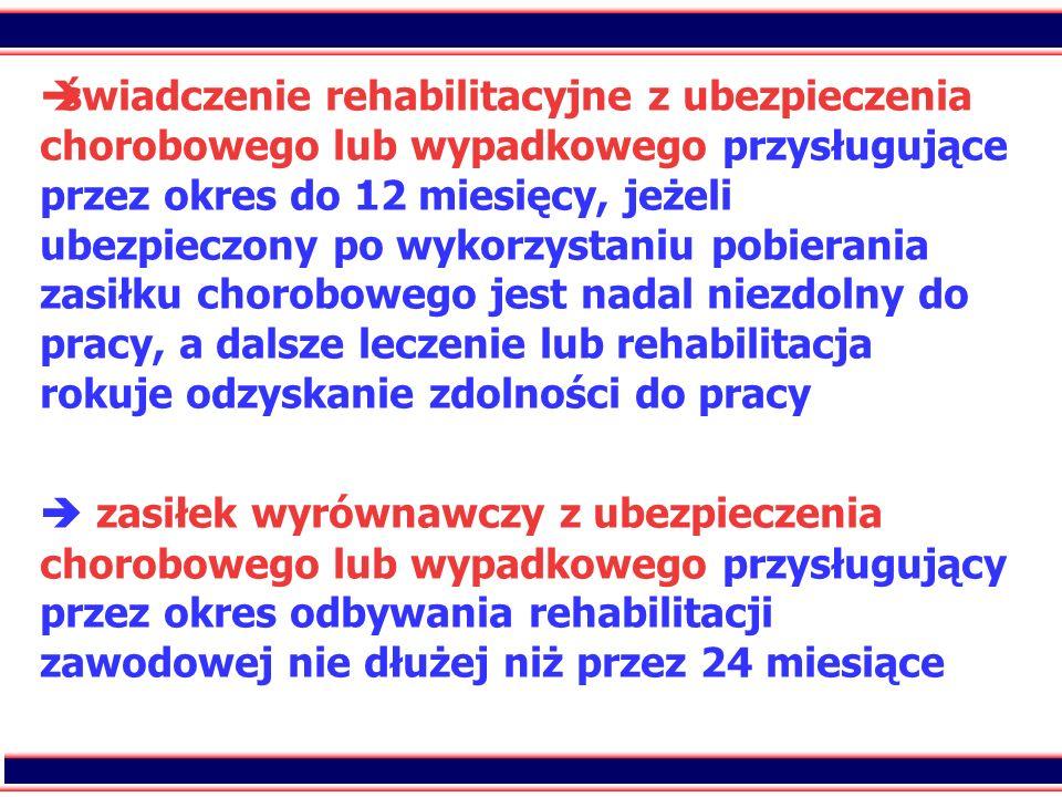 19 świadczenie rehabilitacyjne z ubezpieczenia chorobowego lub wypadkowego przysługujące przez okres do 12 miesięcy, jeżeli ubezpieczony po wykorzysta