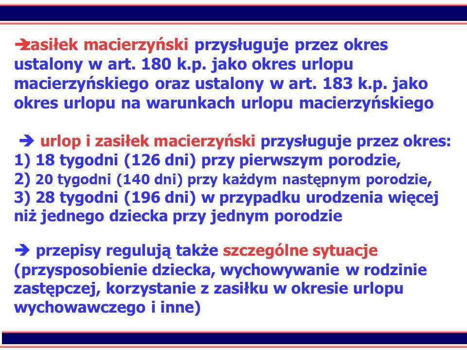 20 zasiłek macierzyński przysługuje przez okres ustalony w art. 180 k.p. jako okres urlopu macierzyńskiego oraz ustalony w art. 183 k.p. jako okres ur
