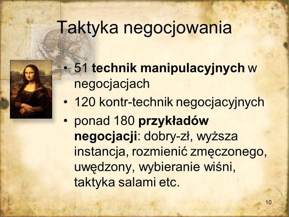 10 Taktyka negocjowania 51 technik manipulacyjnych w negocjacjach 120 kontr-technik negocjacyjnych ponad 180 przykładów negocjacji: dobry-zł, wyższa instancja, rozmienić zmęczonego, uwędzony, wybieranie wiśni, taktyka salami etc.