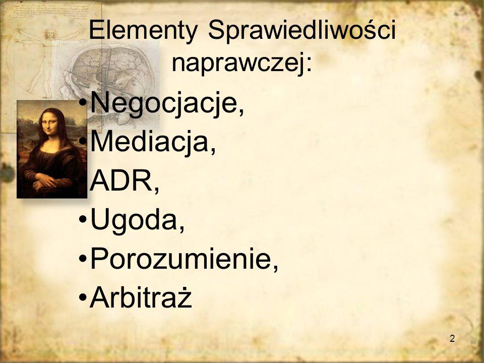 2 Elementy Sprawiedliwości naprawczej: Negocjacje, Mediacja, ADR, Ugoda, Porozumienie, Arbitraż