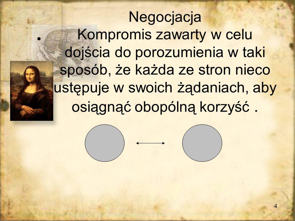 4 Negocjacja Kompromis zawarty w celu dojścia do porozumienia w taki sposób, że każda ze stron nieco ustępuje w swoich żądaniach, aby osiągnąć obopóln