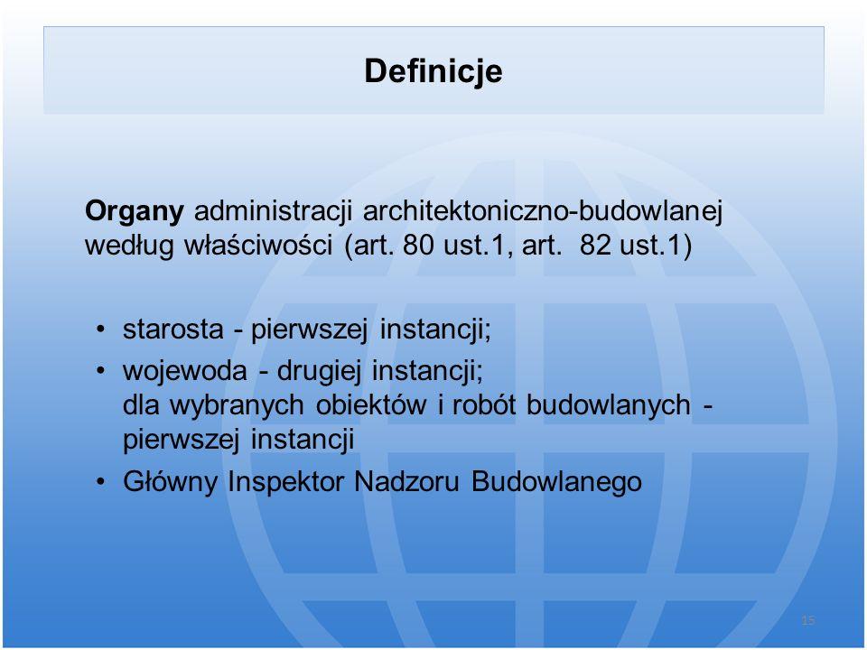 Definicje Organy administracji architektoniczno-budowlanej według właściwości (art. 80 ust.1, art. 82 ust.1) starosta - pierwszej instancji; wojewoda