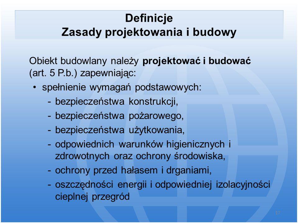 Definicje Zasady projektowania i budowy Obiekt budowlany należy projektować i budować (art. 5 P.b.) zapewniając: spełnienie wymagań podstawowych: -bez