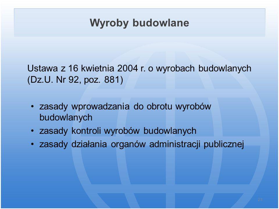 Wyroby budowlane Ustawa z 16 kwietnia 2004 r. o wyrobach budowlanych (Dz.U. Nr 92, poz. 881) zasady wprowadzania do obrotu wyrobów budowlanych zasady