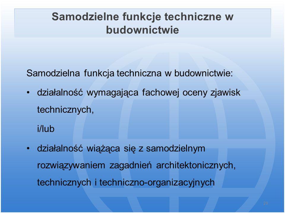 Samodzielne funkcje techniczne w budownictwie Samodzielna funkcja techniczna w budownictwie: działalność wymagająca fachowej oceny zjawisk technicznyc