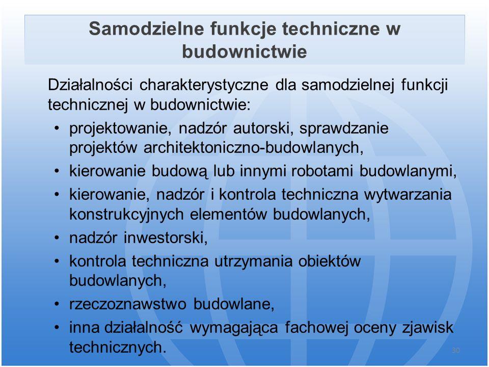 Samodzielne funkcje techniczne w budownictwie Działalności charakterystyczne dla samodzielnej funkcji technicznej w budownictwie: projektowanie, nadzó