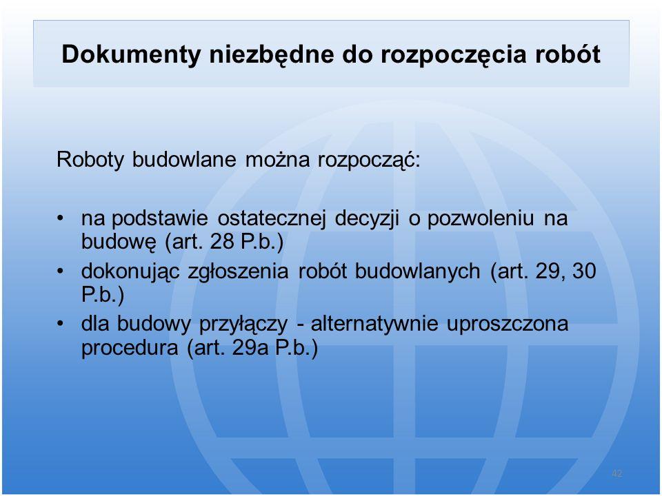 Dokumenty niezbędne do rozpoczęcia robót Roboty budowlane można rozpocząć: na podstawie ostatecznej decyzji o pozwoleniu na budowę (art. 28 P.b.) doko
