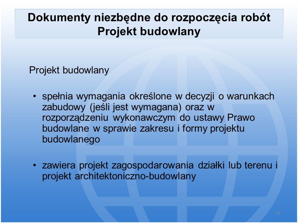 Dokumenty niezbędne do rozpoczęcia robót Projekt budowlany Projekt budowlany spełnia wymagania określone w decyzji o warunkach zabudowy (jeśli jest wy