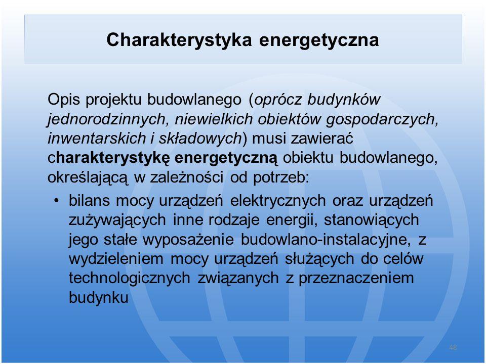 Charakterystyka energetyczna Opis projektu budowlanego (oprócz budynków jednorodzinnych, niewielkich obiektów gospodarczych, inwentarskich i składowyc