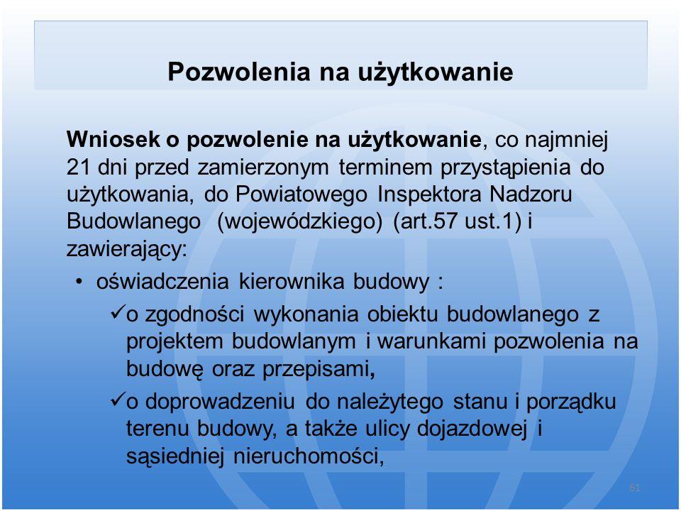 Pozwolenia na użytkowanie Wniosek o pozwolenie na użytkowanie, co najmniej 21 dni przed zamierzonym terminem przystąpienia do użytkowania, do Powiatow