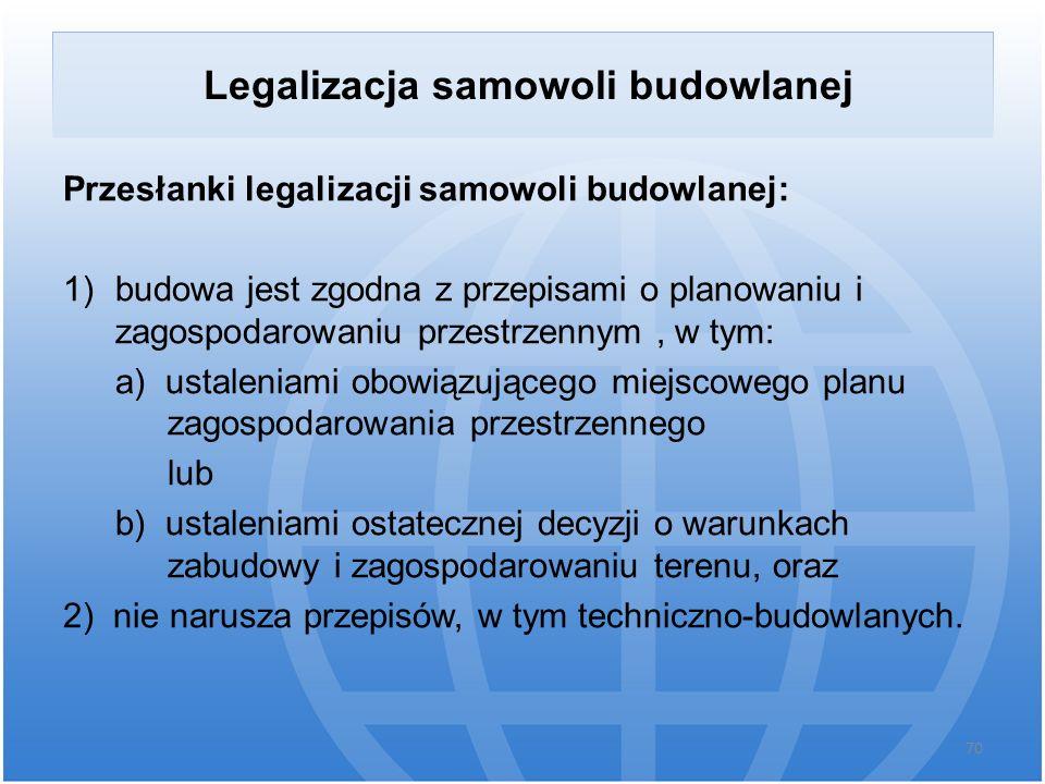 Legalizacja samowoli budowlanej Przesłanki legalizacji samowoli budowlanej: 1)budowa jest zgodna z przepisami o planowaniu i zagospodarowaniu przestrz